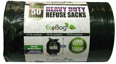 50 x Ecobag Heavy Duty Strong Refuse Sacks Rubbish Waste Bin Linner Black 100L