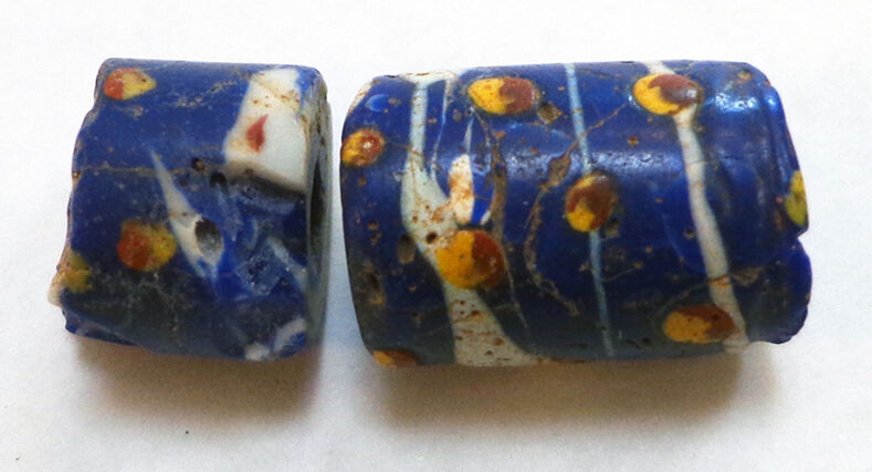 BEADS - VENETIAN TRADE (SLAVE CURRENCY GLASS BEAD) Matched Set of (2)