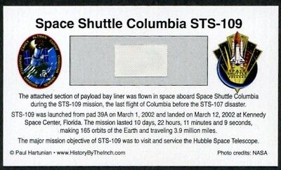 Own a Piece of Space Shuttle Columbia STS-109 - Flown in Space - For Just $9.95