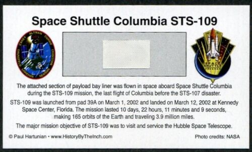 Own a Piece of Space Shuttle Columbia STS-109 - Flown in Space - For Just $14.95
