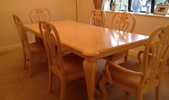 """Stokers Dining Room Table and Chairsin Chester, CheshireGumtree - A lovely white wood grain dining room table and set of four chairs plus two carvers bought from Stokers around five years ago for £2500. 68"""" by 44"""" can extend to 84"""". Very good condition, well looked after. Pick up only from Chester area"""