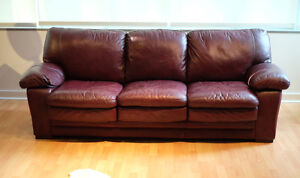 Lovely burgundy leather couch
