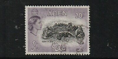 QEII ADEN 57  20/-  fine used cat £22 SG listed shade black and deep lilac