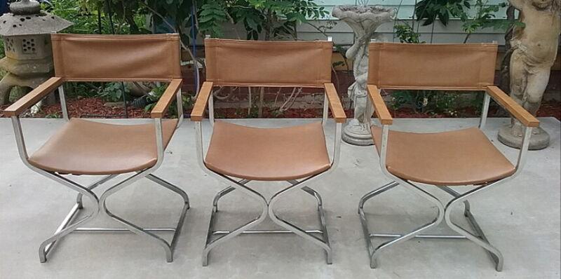 Three Mid Century Modern Milo Baughman Style Chrome Directors Chairs Original