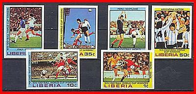 LIBERIA 1978 ARGENTINA'78 SOCCER/FOOTBALL CUP imperf SC#820-25 MNH  (E=B2)