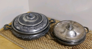 Lot of 2 antique silverplated serving bowl w/lids
