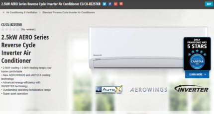 2.5kw $580 -7kw $1250 inc gst Panasonic Air Conditioners Brisbane