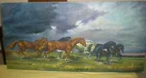 """Oil Painting - horses - 24"""" x 48"""""""