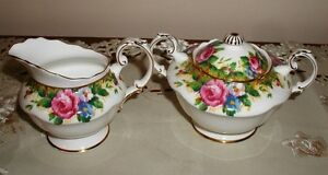Paragon Tapestry Rose Covered Creamer and Sugar