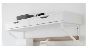 White Ikea wall shelf with 2-drawers and brackets assembled