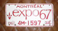 CAR PLATE 1967 Montreal Expo