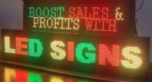 Enseigne  Led lumineuse programmable scrolling, sign ouvert