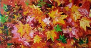 "52″ x 28″ Original Oil Painting ""Leaf Fall"""