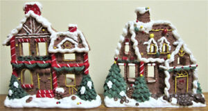Pair Of Gingerbread House Tealight Holders