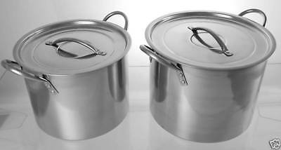 Set Of 2 Stainless Steel Stock Cooking Pot with Cover or Lid 11.5 Ltr & 8.2.Ltr