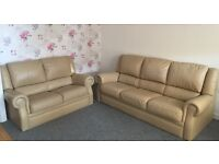 Coffee coloured leather suite (Delivery Included)