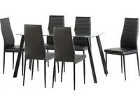 BRAND NEW abbey dinning set with 4 and 6 chairs in leather finish. tempered glass