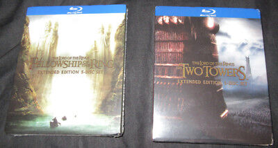 New  Lord Of The Rings  Fellowship   Two Towers 5 Disc Blu Ray Extended Editions