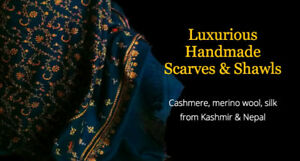 Luxurious pashmina, cashmere, silk & wool handmade scarves