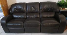 3 seater + 2 seater sofa brown leather