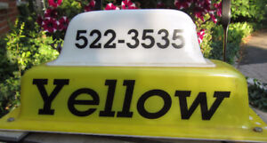 Vintage Hamilton Yellow Taxi Topper Sign