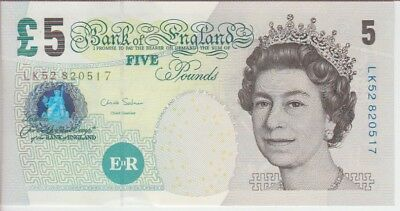 England Banknote P391d 5 Pounds  Sig Salmon Qe Ii 10 99  Unc