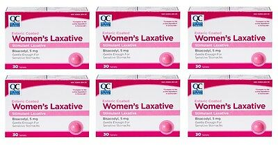 6 Pack Quality Choice Enteric Coated Womens Laxative 5mg Tablets 30 count Each - Enteric Coated Laxative