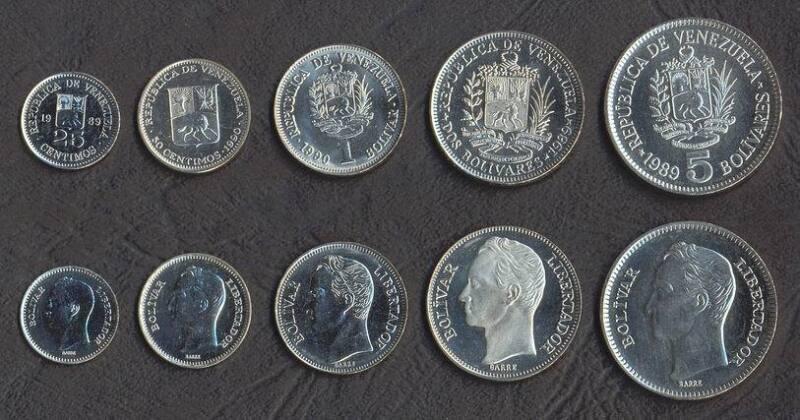 VENEZUELA COMPLETE COIN SET 25+50 Centimos +1+2+5 Bolivar 1989-1990 UNC LOT of 5