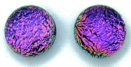 Pair (2 cabs) Simple Process Dichroic Glass Cabochons no hole beads  RELEI