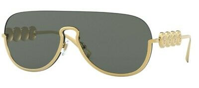 Versace Pilot Shield Sunglasses VE2215 100287 Gold / Grey Lens