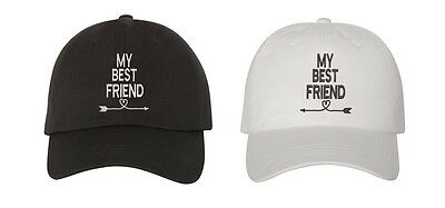Best Friend White Hat - My Best Friend Pair Couples Low Profile Baseball Caps Black And White
