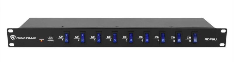 Rockville RDF9U 1U 15A Rack Mount DJ Pro Audio Power Supply Strip w/USB Charging