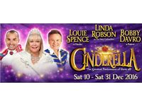 Wycombe Swan Pantomime. Three tickets. 22nd Dec 7.00PM. FRONT ROW. Louis Spence, Linda Robson