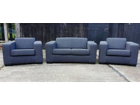 Brand New Fabric 2 Seater Sofa and Two Armchairs - Charcoal. BARGAIN -Can deliver-
