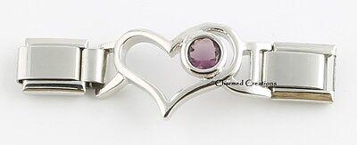 February Birthstone Heart - February Purple Birthstone Heart Enhancer 9mm Italian Charm Starter Link