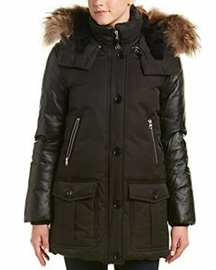 NEW Mackage Women winter coat with leather sleeves and fur.