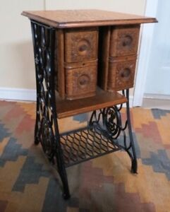 Small Table: Repurposed Singer Treadle Sewing Cabinet