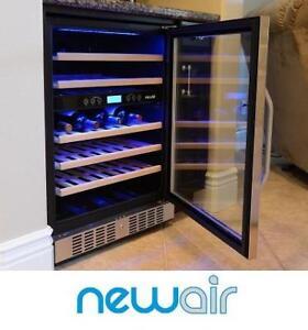 NEW* NEWAIR 46 BOTTLE WINE COOLER AWR-460DB 140531962 DUAL ZONE STAINLESS STEEL
