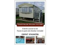 caravan to let Coastfields Holiday Village 8 berth