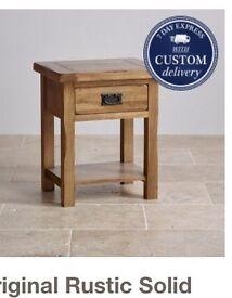 Oak Furniture Land Original Rustic Collection Solid Oak Lamp Table (Side Table)