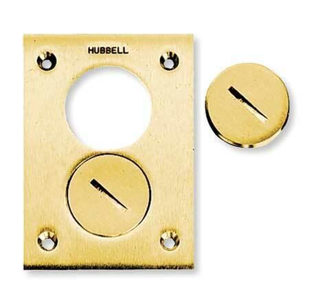 Hubbell Wiring Device-Kellems S3625 Floor Box Cover,Rectangular,2-Gang,Brass