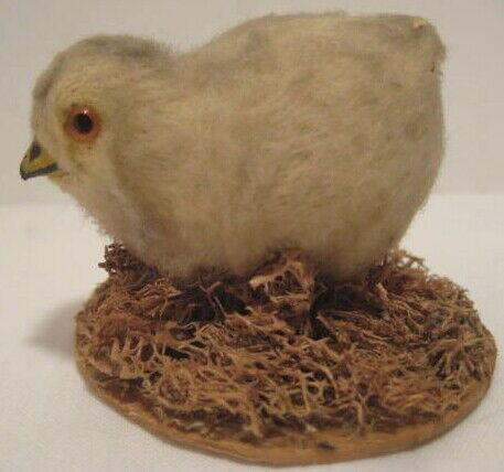 Old Miniature Easter Decoration - Cotton Covered Composition Chick on Moss Nest