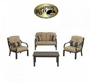 NEW HAMPTON BAY 4-PIECE CHAT SET - 117892998 - CHESTERMERE OUTDOOR CONVERSATION SET