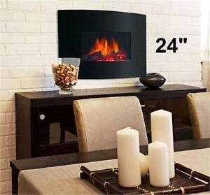 "NEW* DECOR FLAME ELECTRIC FIREPLACE 24"" WALL MOUNTED ELECTRIC FIREPLACE HEATER HOME DECOR INSERTS 91969522"