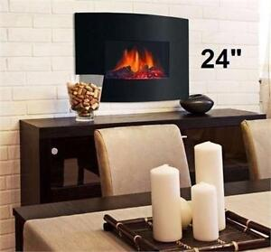 "NEW* DECOR FLAME ELECTRIC FIREPLACE 24"" WALL MOUNTED ELECTRIC FIREPLACE HEATER HOME FURNITURE DECOR ACCENT 93206441"