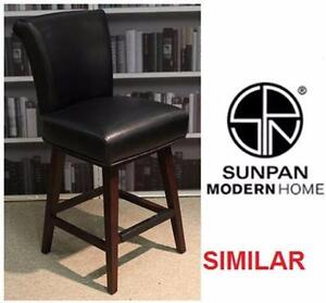 NEW SWIVEL COUNTER STOOL BLACK FURNITURE - BONDED LEATHER  83916981