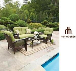 NEW* HOMETRENDS 4 PIECE PATIO SET TUSCANY CONVERSATION SET GREEN PATIO FURNITURE GARDEN HOME 78522818