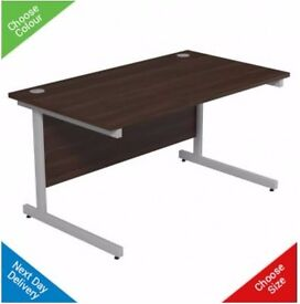 PRICED TO SELL!!! Large Cantilever Office Desk with 3 drawer tower in Walnut
