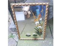 Stunning vintage / retro hand painted mirror DERBY