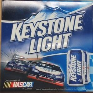 Large Keystone Light Beer and Nascar Tin Sign NOW $10